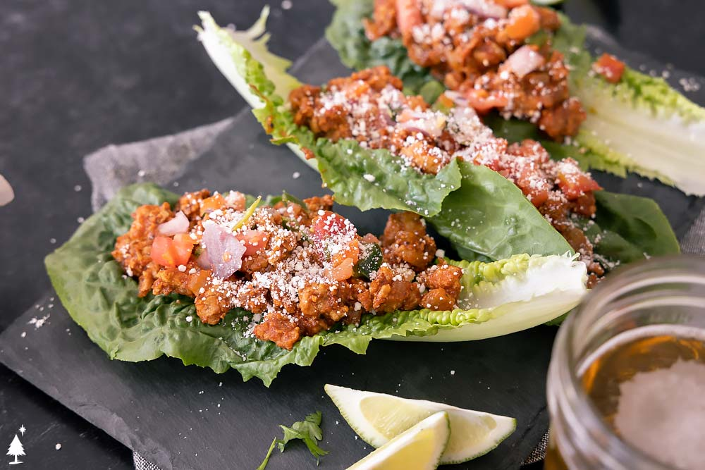 Keto tacos lettuce in a wrap closer view