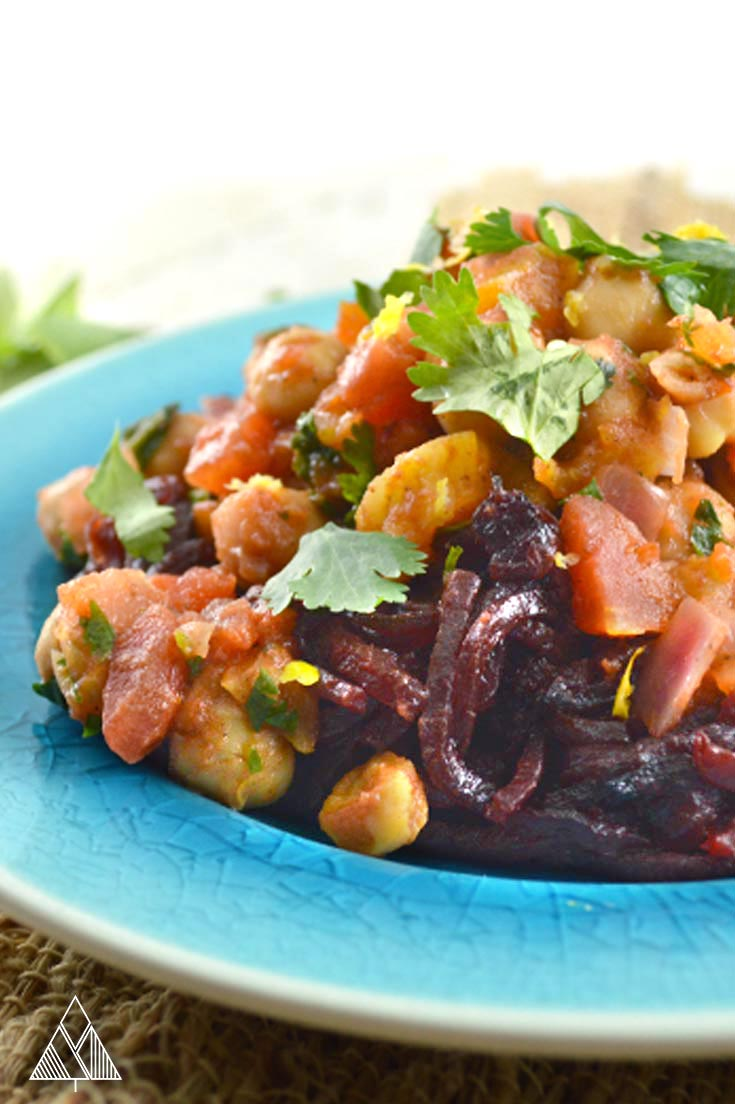 Moroccan Chickpeas over Spiralized Beet Noodles
