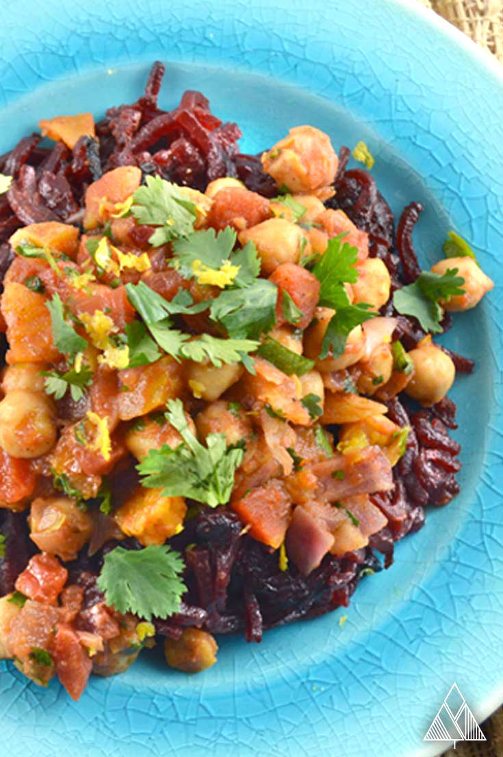 Moroccan Chickpeas with Beet Noodles