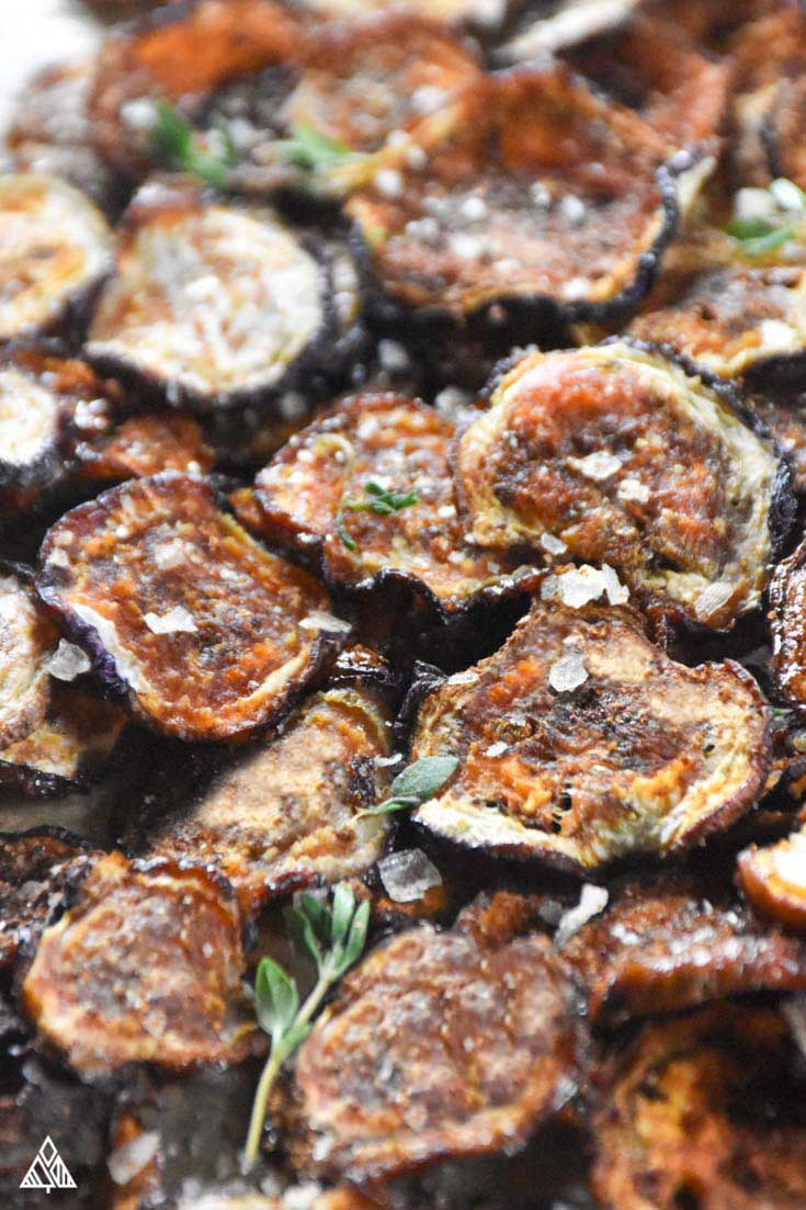 Eggplant Chips overhead after cooked
