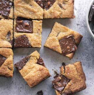 low carb cookie bars in a plate