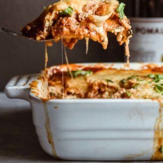 eggplant lasagna in a bowl
