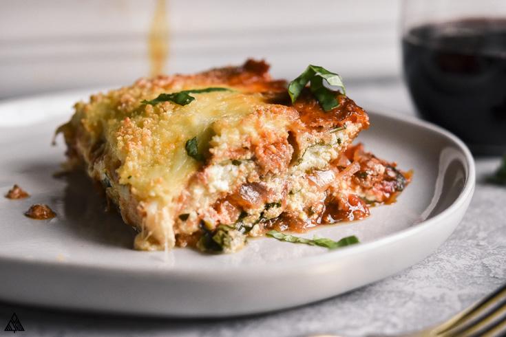 eggplant lasagna in a plate