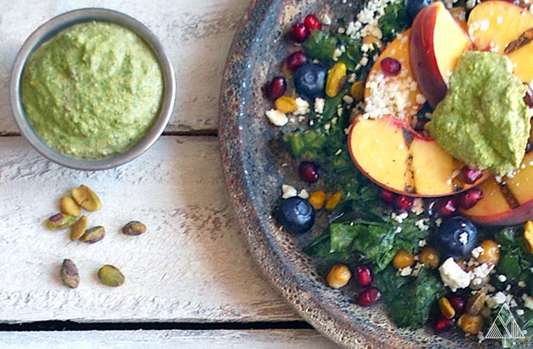 Grilled Peach and Mint Pistachio Pesto Summer Salad