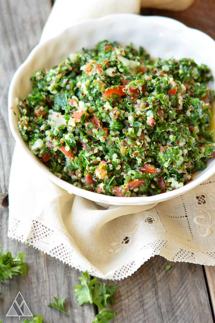 Bowl of tabouleh salad recipe on a napkin