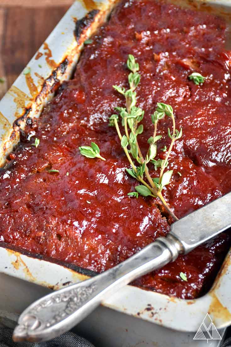 Paleo meatloaf in a loafpan