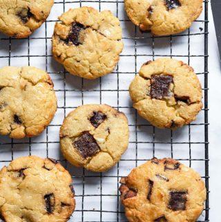 coconut flour cookies on a rack