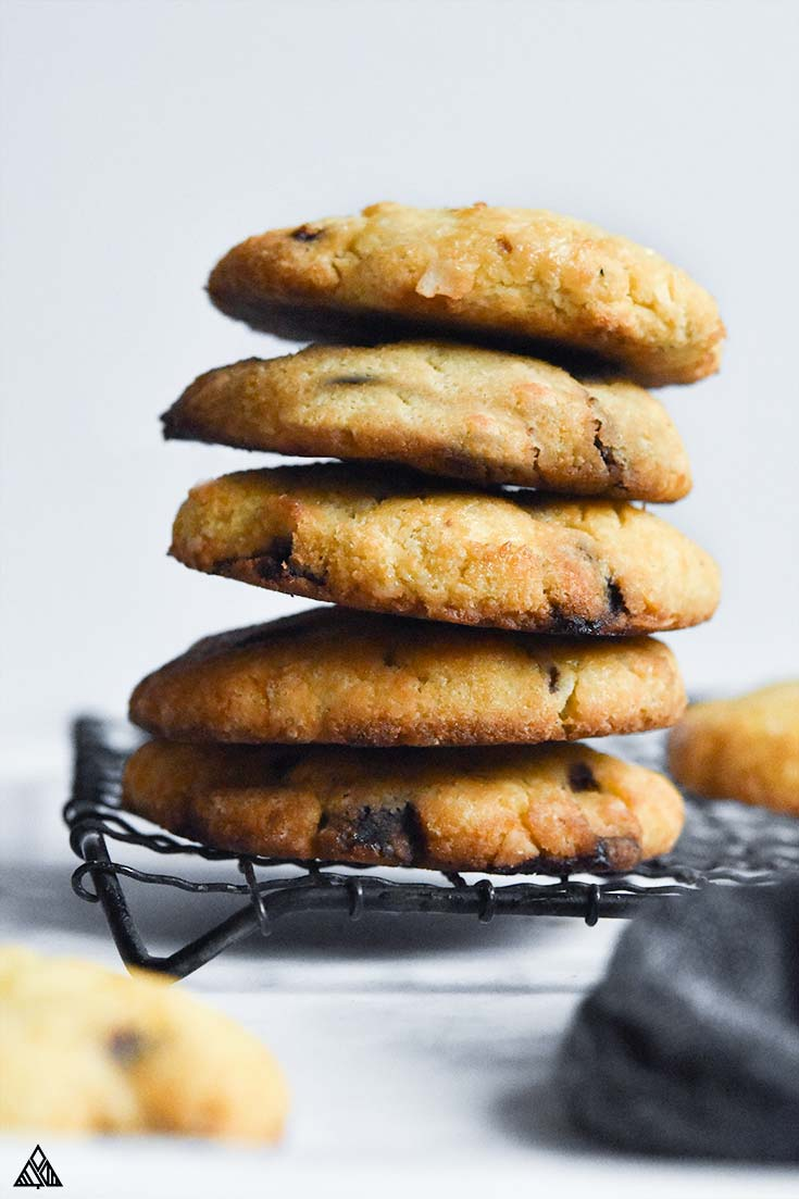 Side view of coconut flour cookies on a rack