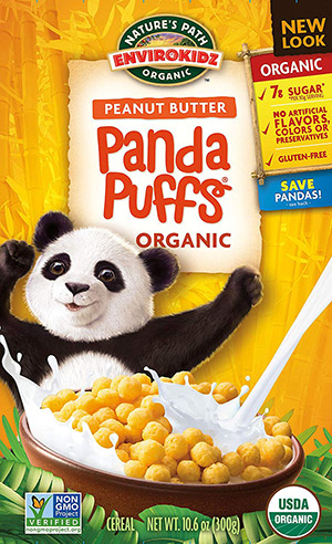 box of panda puffs gluten free cereal