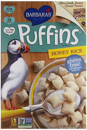box of puffins gluten free cereal
