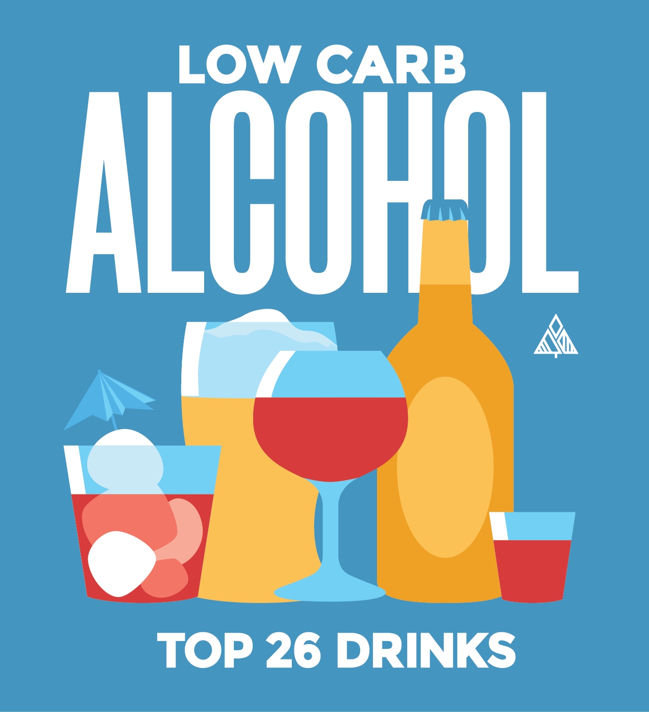 Low carb alcohol, top 26 drinks title image with alcohol glasses
