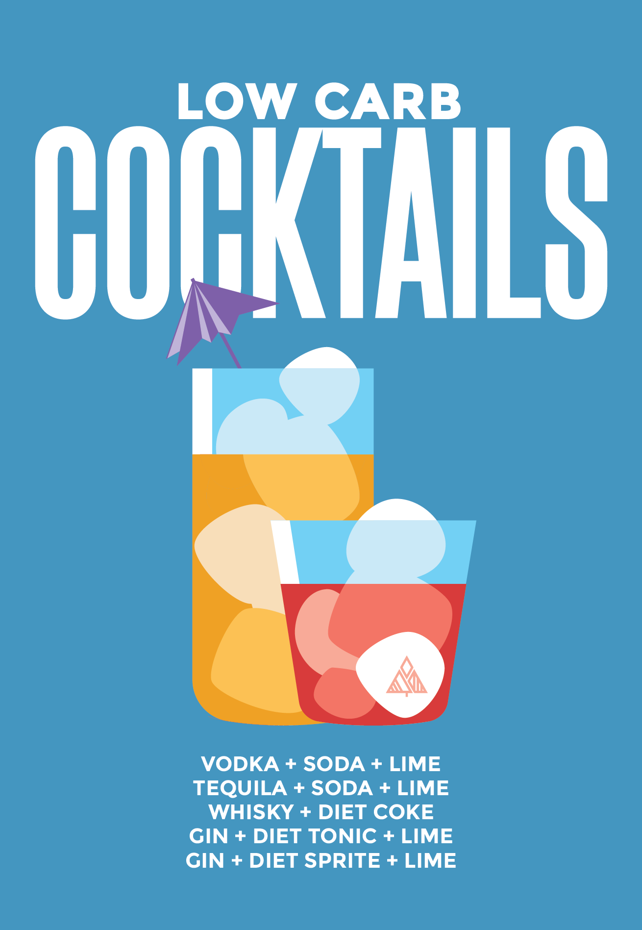 a list of low carb cocktail options graphic