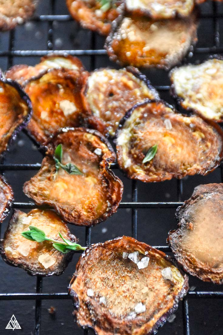 Baked eggplant chips on cooling rack with black background