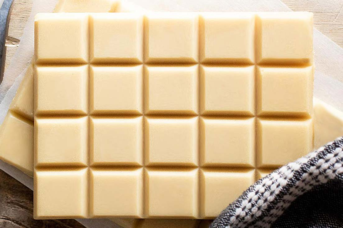Top view of white chocolate bar