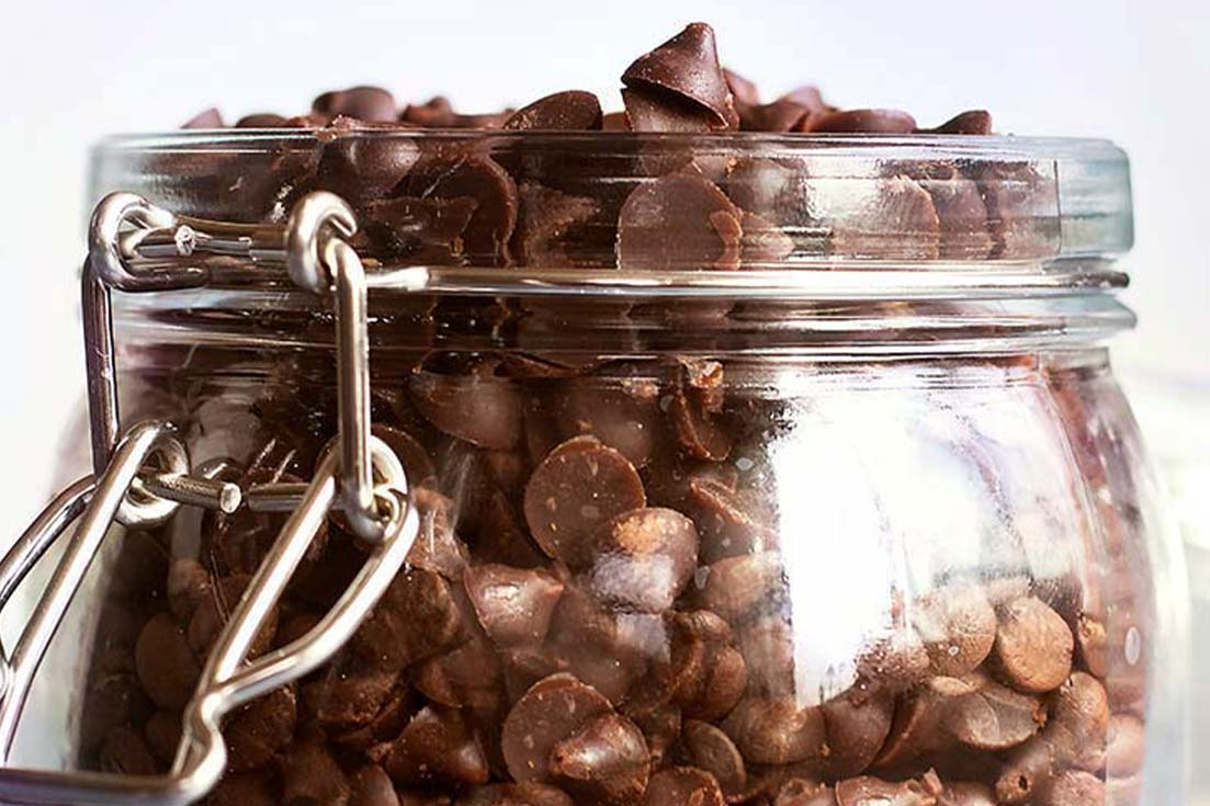 A jar of chocolate chips