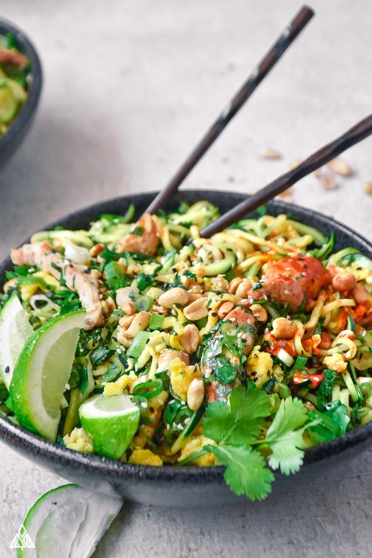 Keto Pad Thai in a bowl with chopsticks