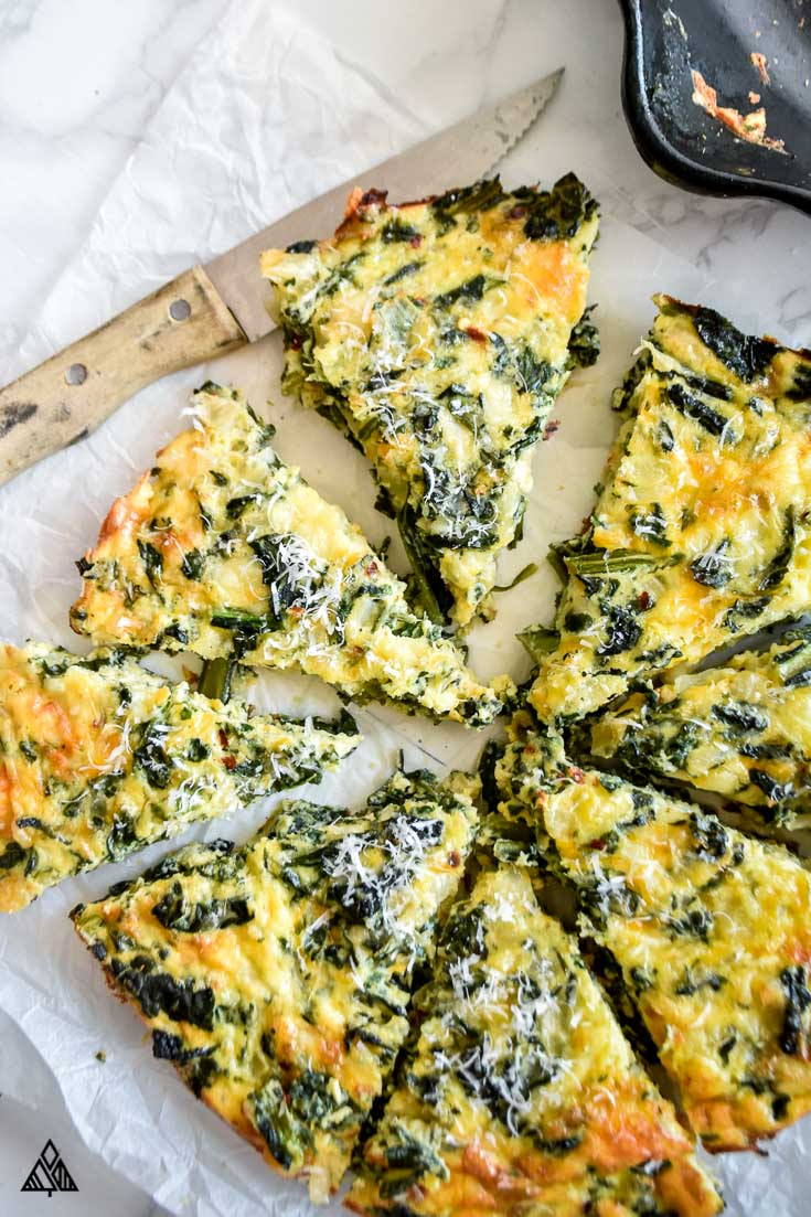 Crustless spinach quiche in its baking dish