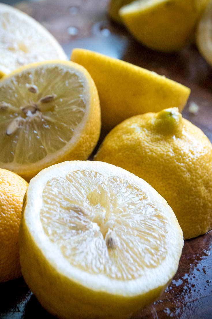 Lemons cut into halves
