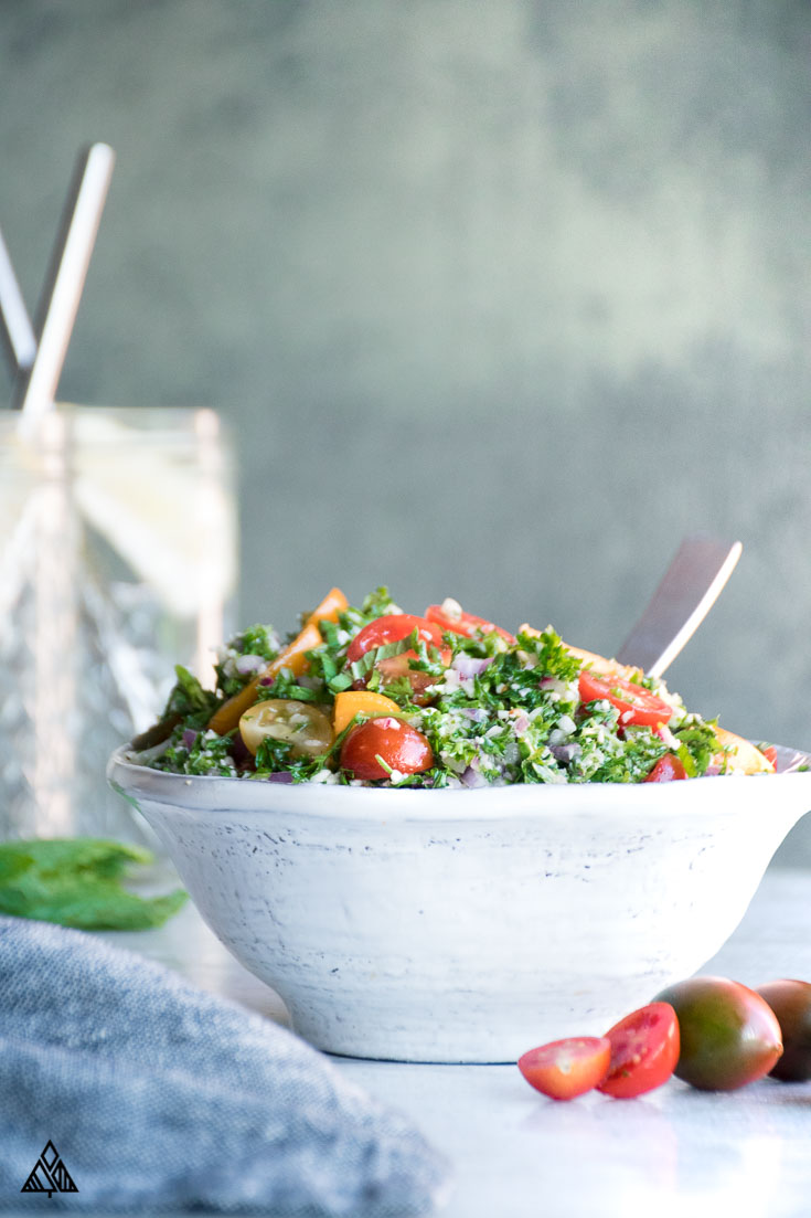 Cauliflower Tabbouleh in a small white bowl