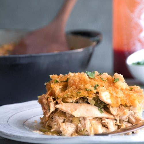 low carb chicken casserole in a plate