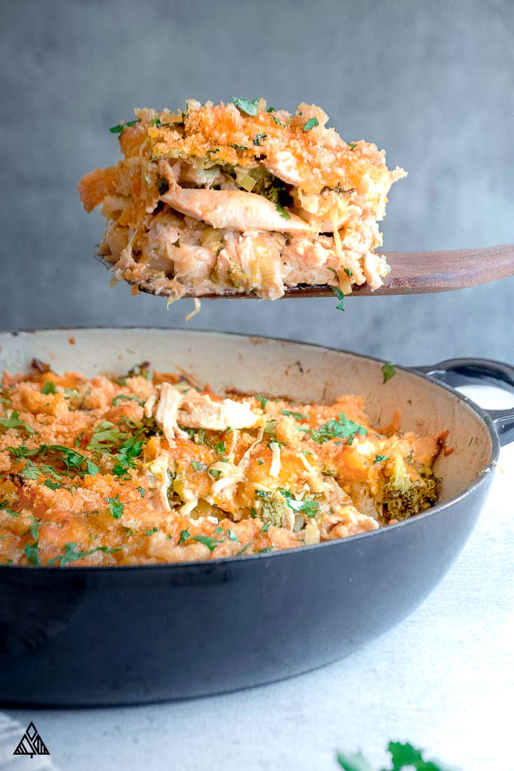 Low carb chicken casserole in a pan