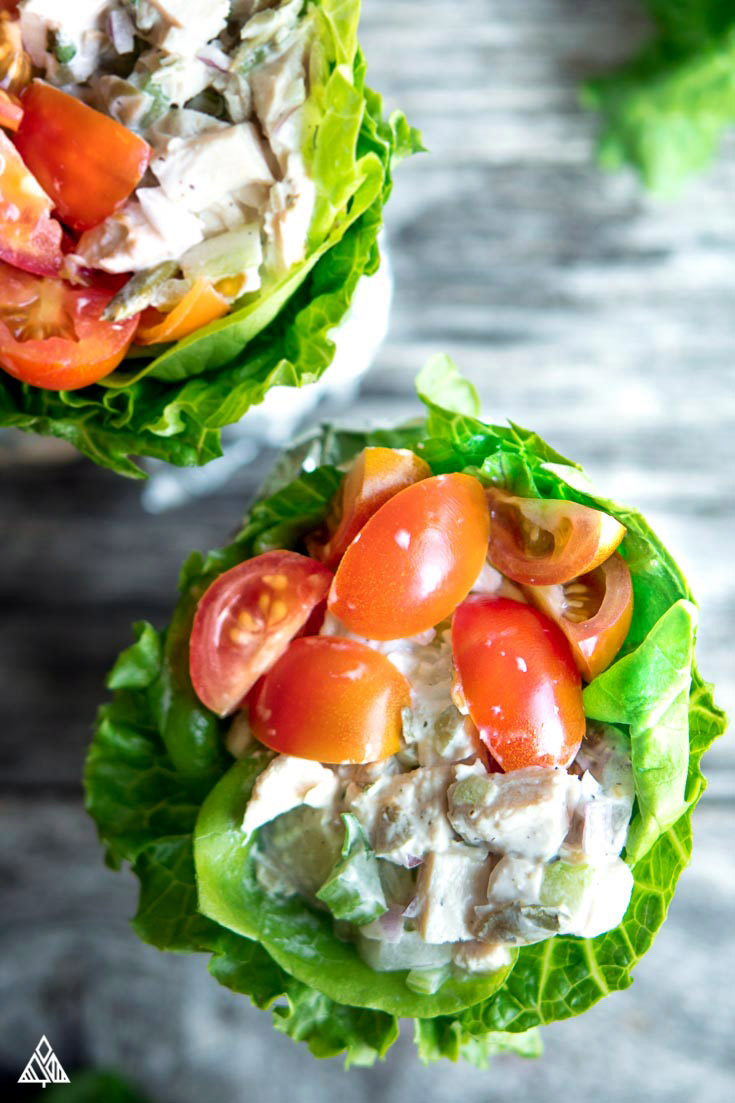 2 servings of low carb chicken salad wrapped in a foil