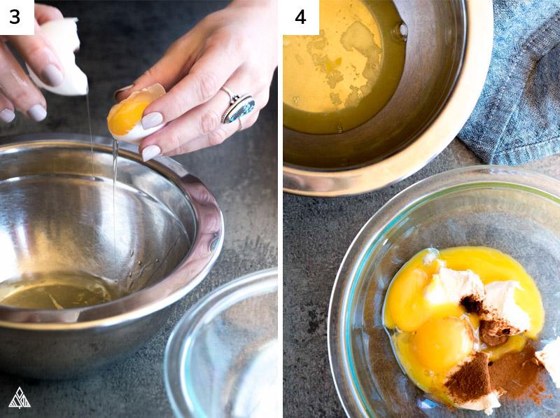 Preparing the eggs in making oopsie bread recipe