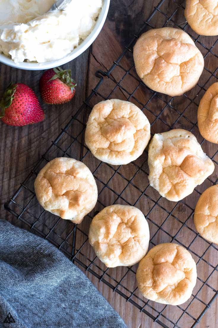 Oopsie bread recipe lined in a baking screen