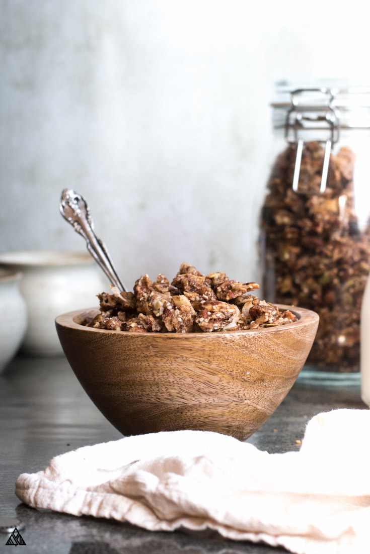 Low carb granola in a wooden bowl