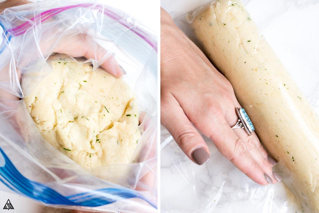 Placing the dough into a ziploc bag