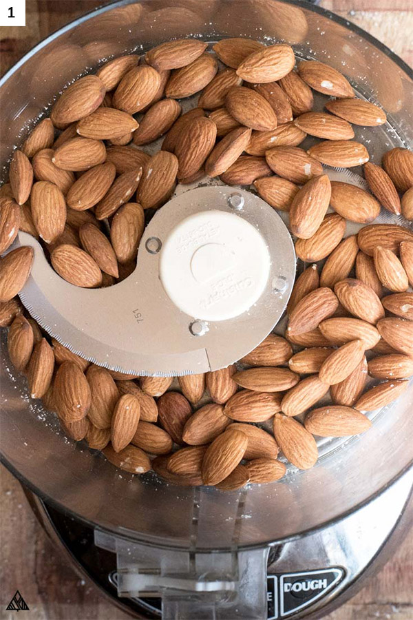 Almonds with skin in a blender