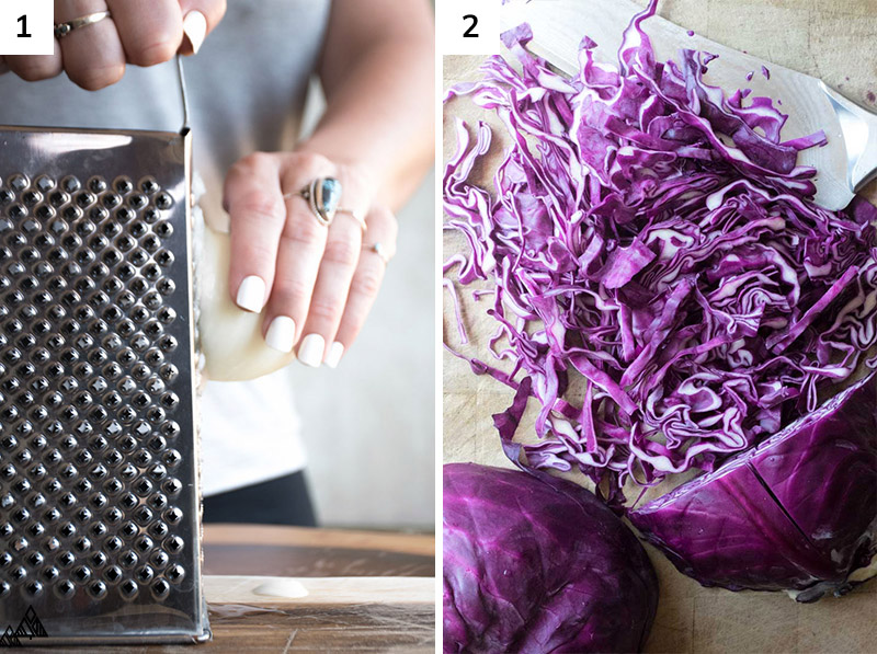 Grating the onion and sliced cabbage
