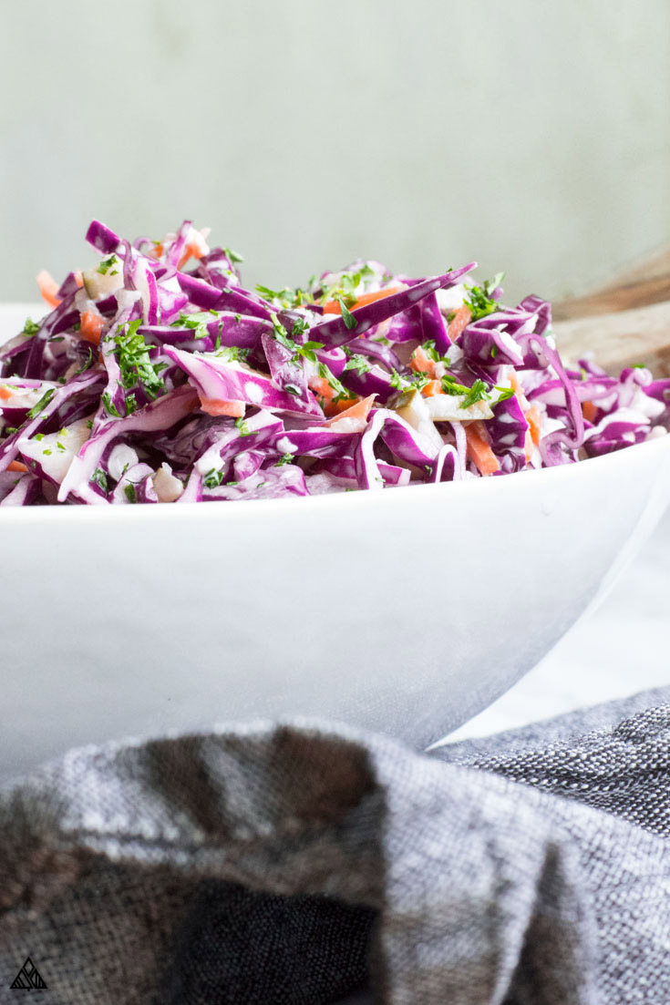 Keto coleslaw in a plate