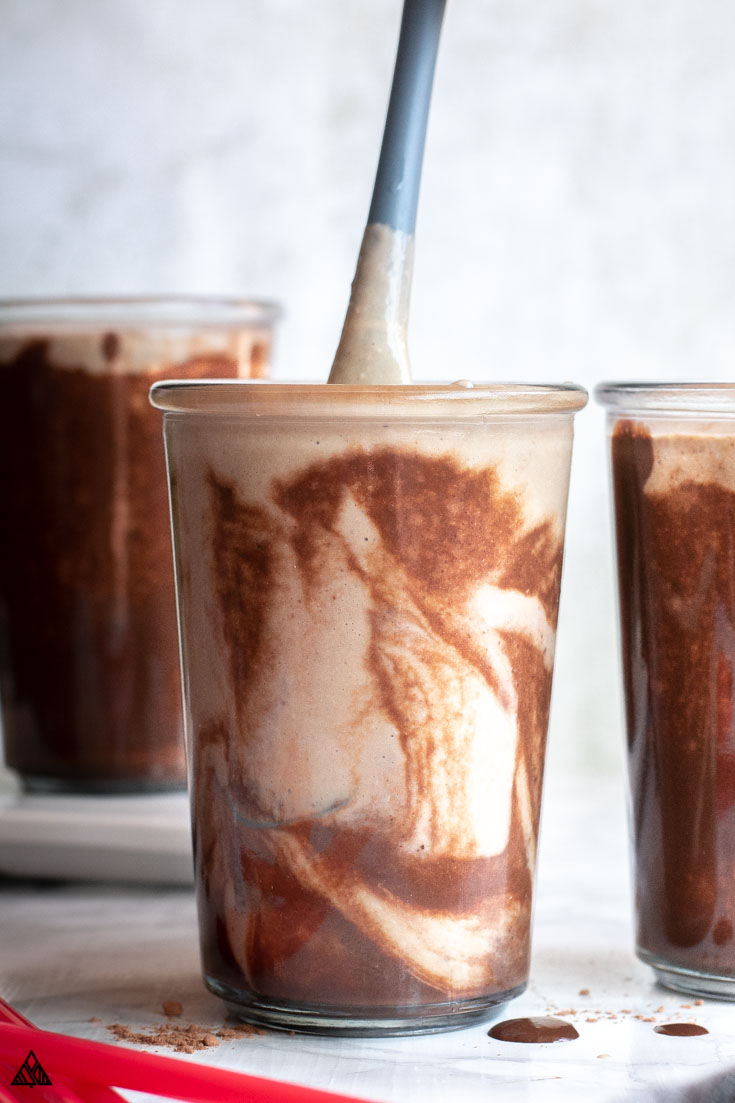 swirling the ingredients of the low carb shakes