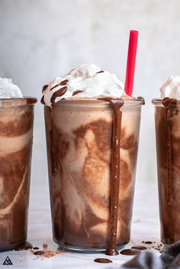 3 low carb shakes with chocolate and whipped cream