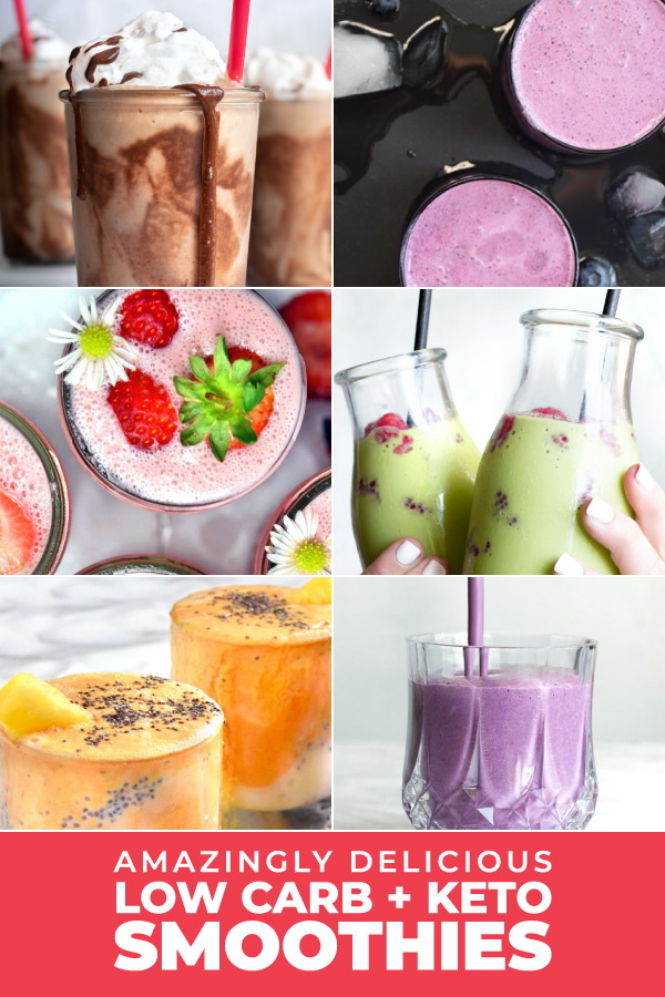 Graphic of the top 5 low carb smoothies recipes