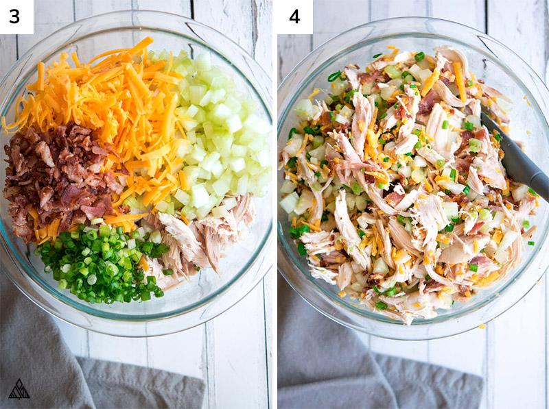 Ingredients for rotisserie chicken salad