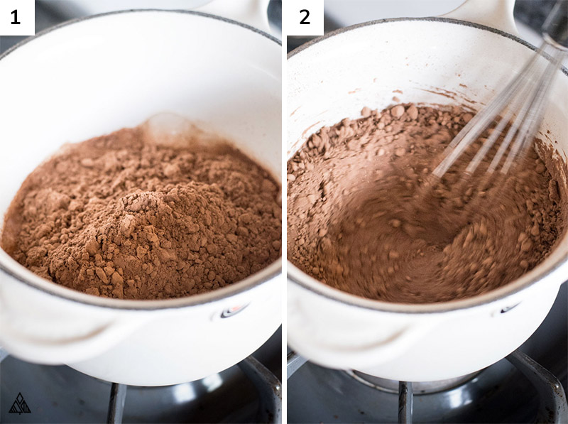 Cocoa powder mixed in a pan