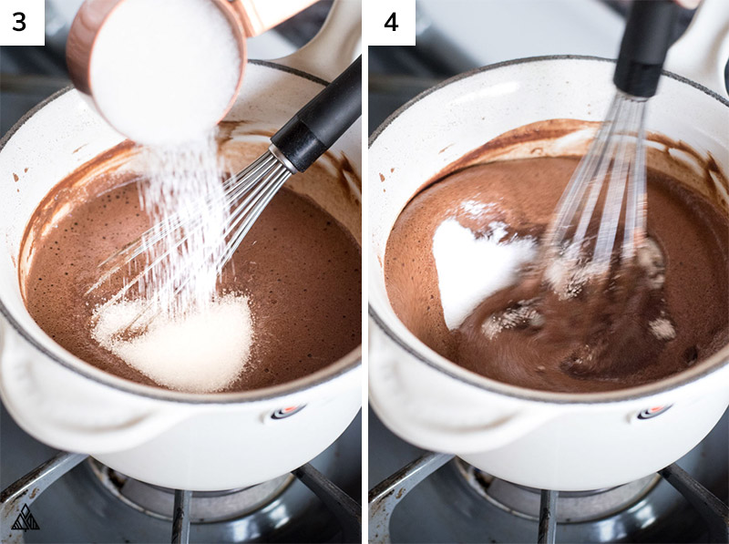 Cocoa powder and milk mixed in a pan
