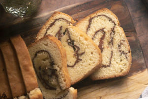 closer view of low carb cinnamon swirl bread