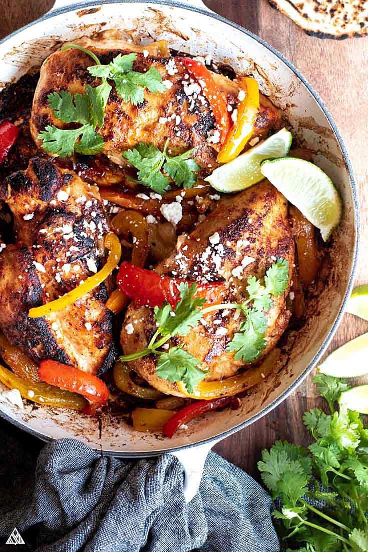 Fajita stuffed chicken in a bowl