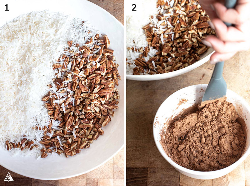 Mixing the ingredients for keto granola