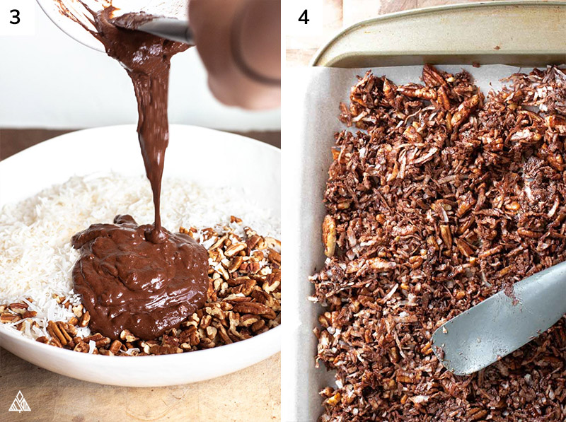 Adding the chocolate to chopped nuts