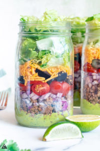 keto taco salad layered in a mason jar