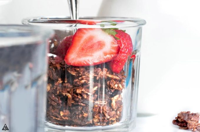 Closer look of low carb chocolate granola in a glass