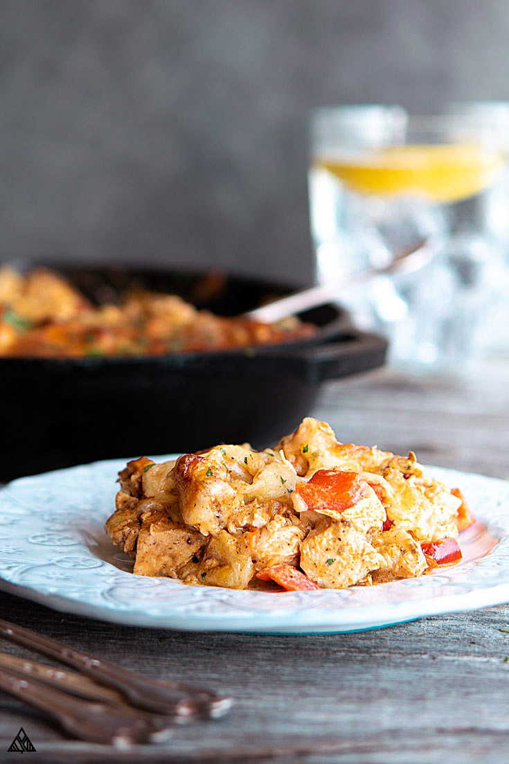Low carb mexican chicken casserole in a plate