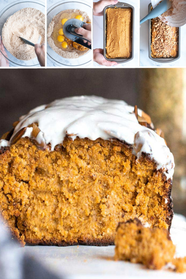 Seriously guys, there's no better way to celebrate this cozy season than with a big old slice of low carb pumpkin bread! #lowcarb #keto #glutenfree #grainfree #healthy #recipe #coconutflour #almond #erythritol #withcreamcheese #eggs #bakingpowder #cinnamon #nutmeg #pumpkinseeds #breakfast #frenchtoast #pumpkinpuree #vanilla #desserts
