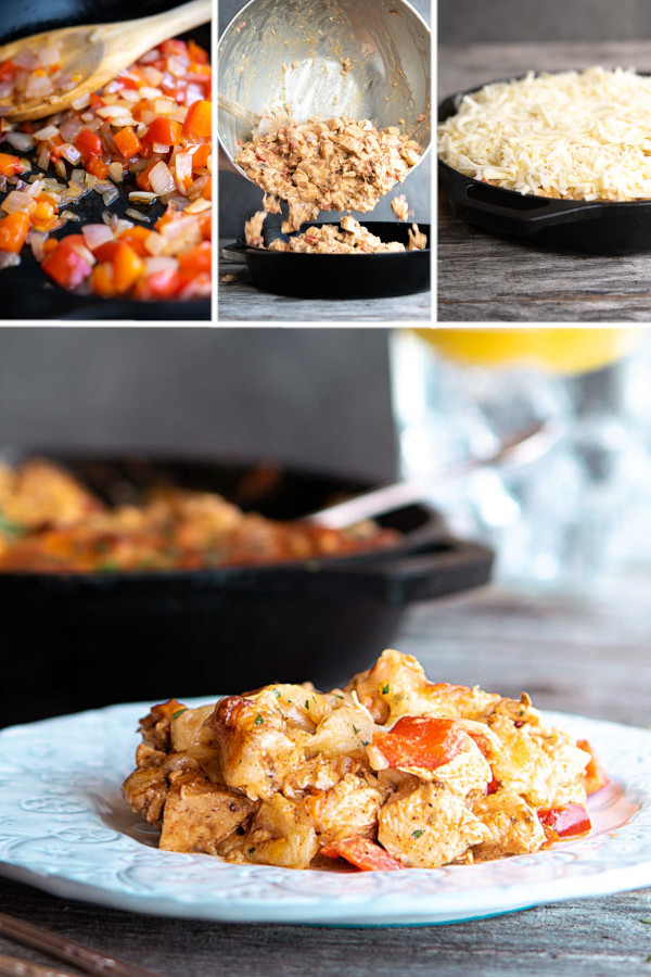 Low Carb Mexican Chicken Casserole —perfect for low carb meal prep or Friday night cocktails. How will you try it first? #lowcarb #keto #glutenfree #grainfree #healthy #recipe #enchiladabake #greenchillis #chickenbreast #crockpot #easydinners #groundbeef #cheese #bellpepper #chilipowder #cilantro #sourcream #oregano #weightloss #cleaneating