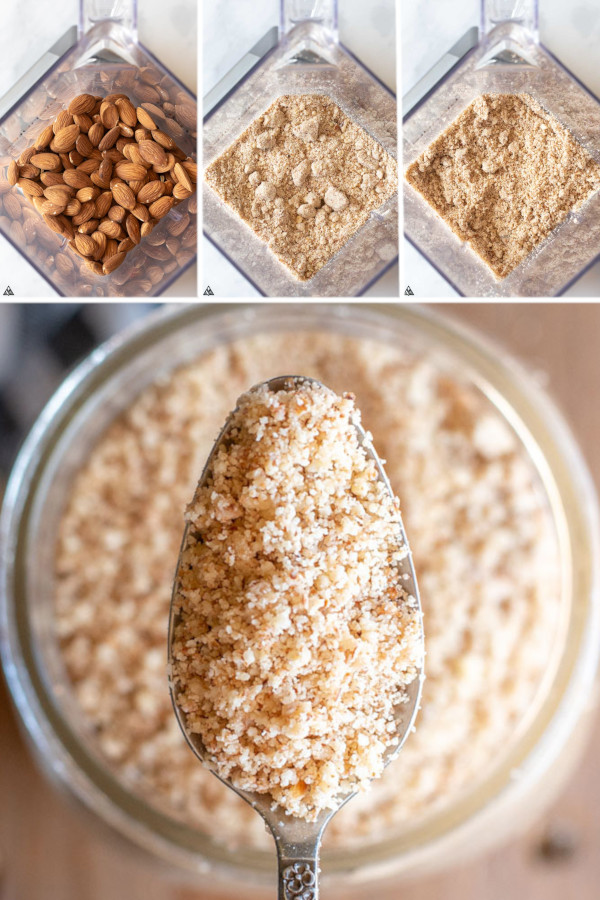 This recipe is for my friends who think low carb foods are expensive... make your own almond meal in 5 minutes and save tons of cash! #lowcarb #keto #glutenfree #grainfree #healthy #recipe #almondflour #flour #milk #foodprocessor #blenders #homemade #baking #almonds #blanchedalmonds #almondswithskin #paleo #nuts #desserts #appetizers