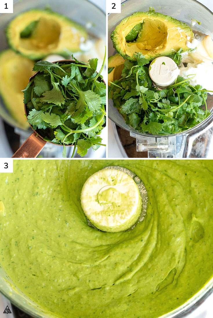 Adding all the ingredients for avocado sauce into the blender